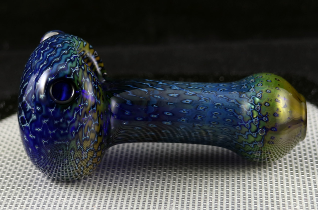 Gold and Silver Fumed Bubble Trap on Cobalt Spoon