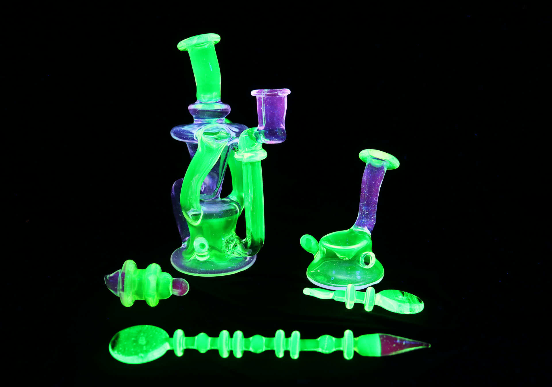 Pop D Glass Art – Custom Illuminati and Lucy Double Recycler Set