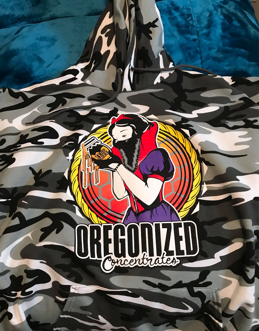 Oregonized Apparel Black Camo Sauce Princess Pullover Hoodie