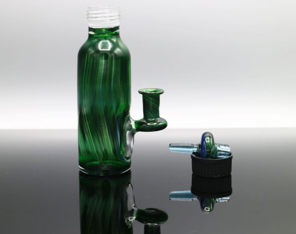 Glassmith Experimental Green Bubble Bottle