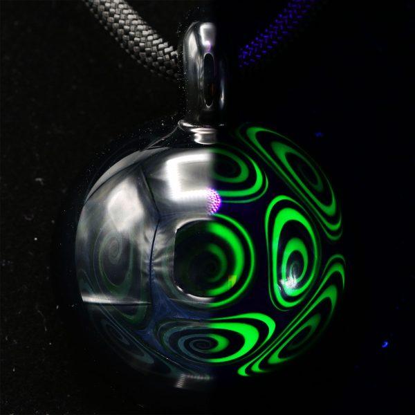 Kaja Glass Jet Black Illuminati Microspiral Pendant