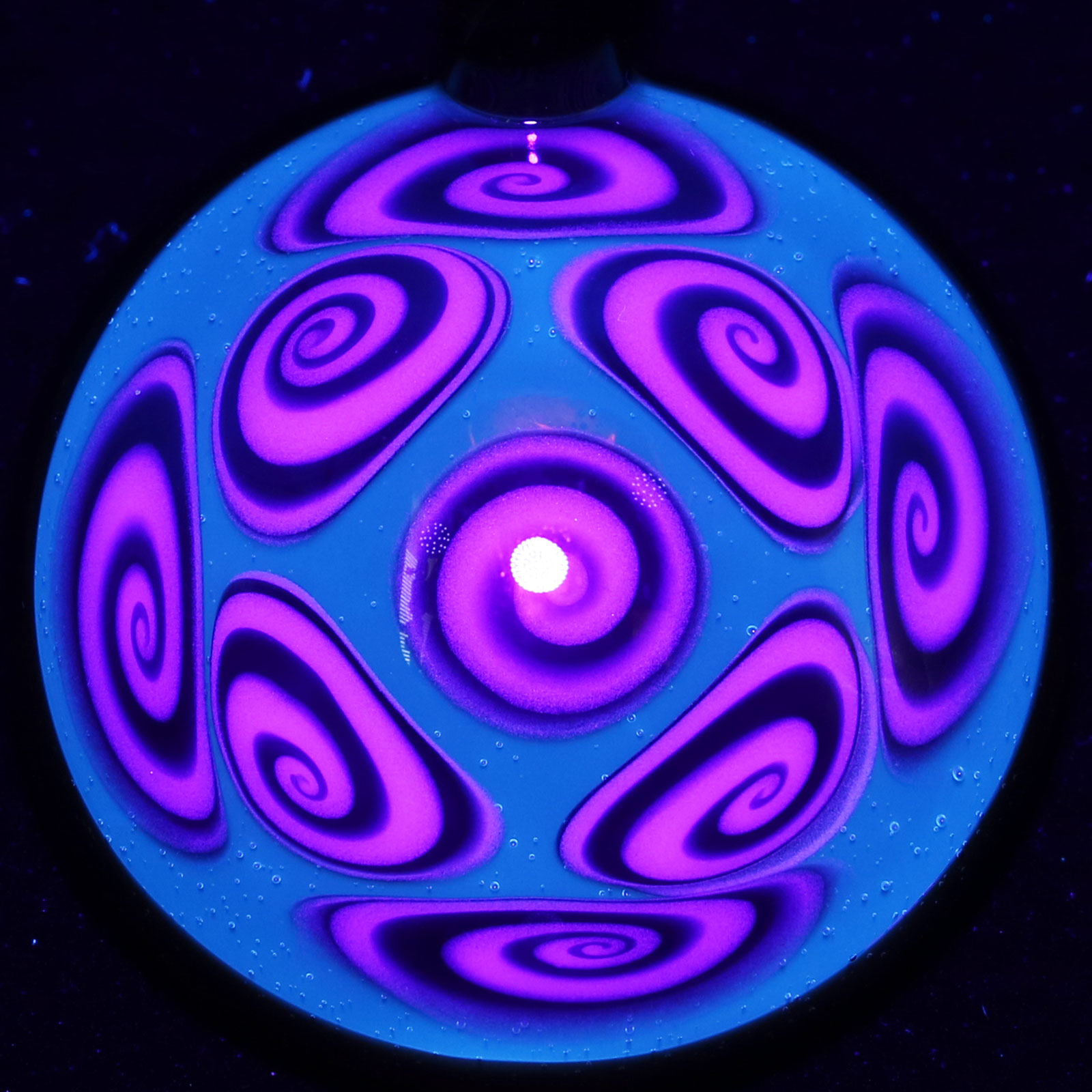 Kaja Glass – Pomegranate 9 Section Microspiral UV Pendant