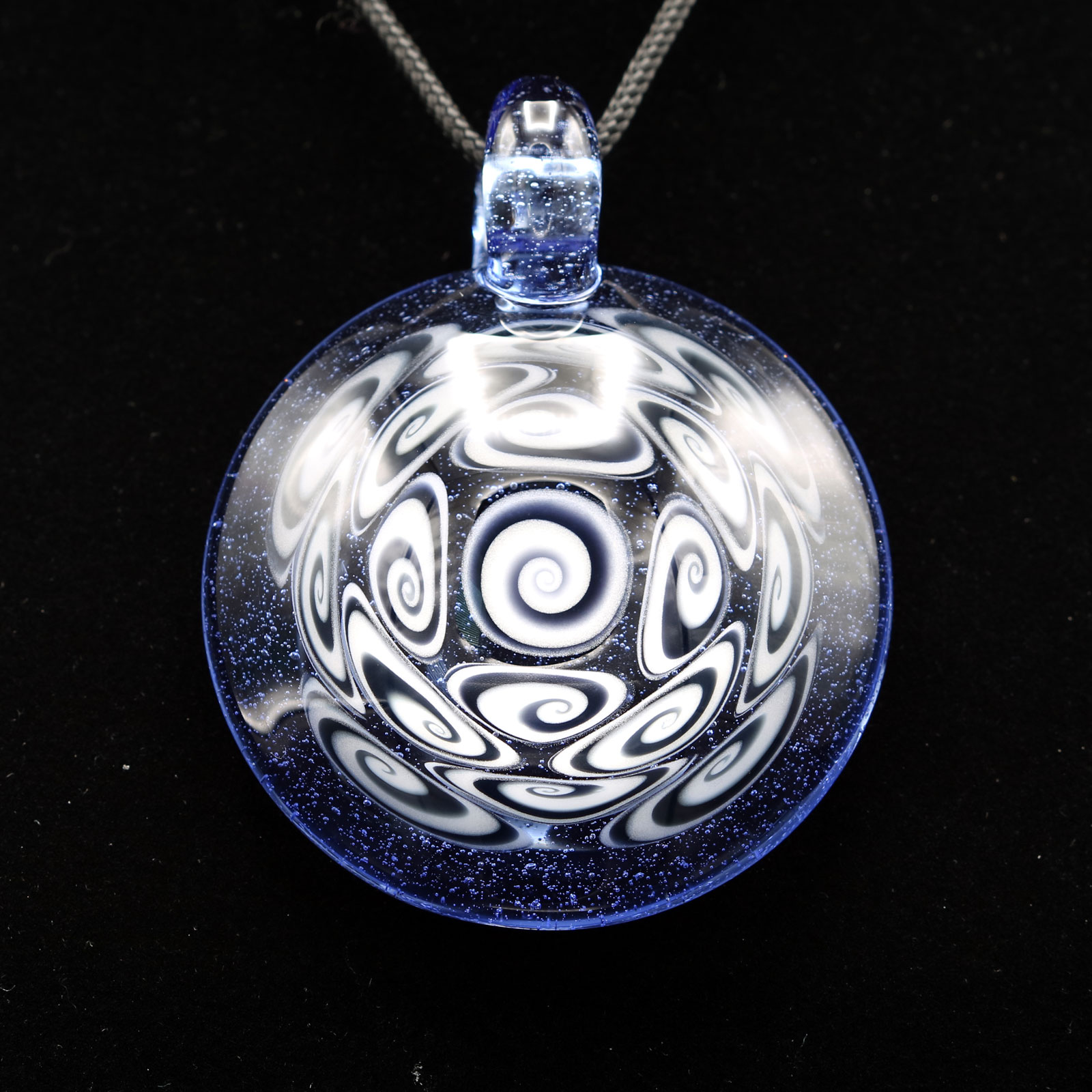 Kaja Glass – 17 Section XXL Bluemingo Microspiral Glass Pendant