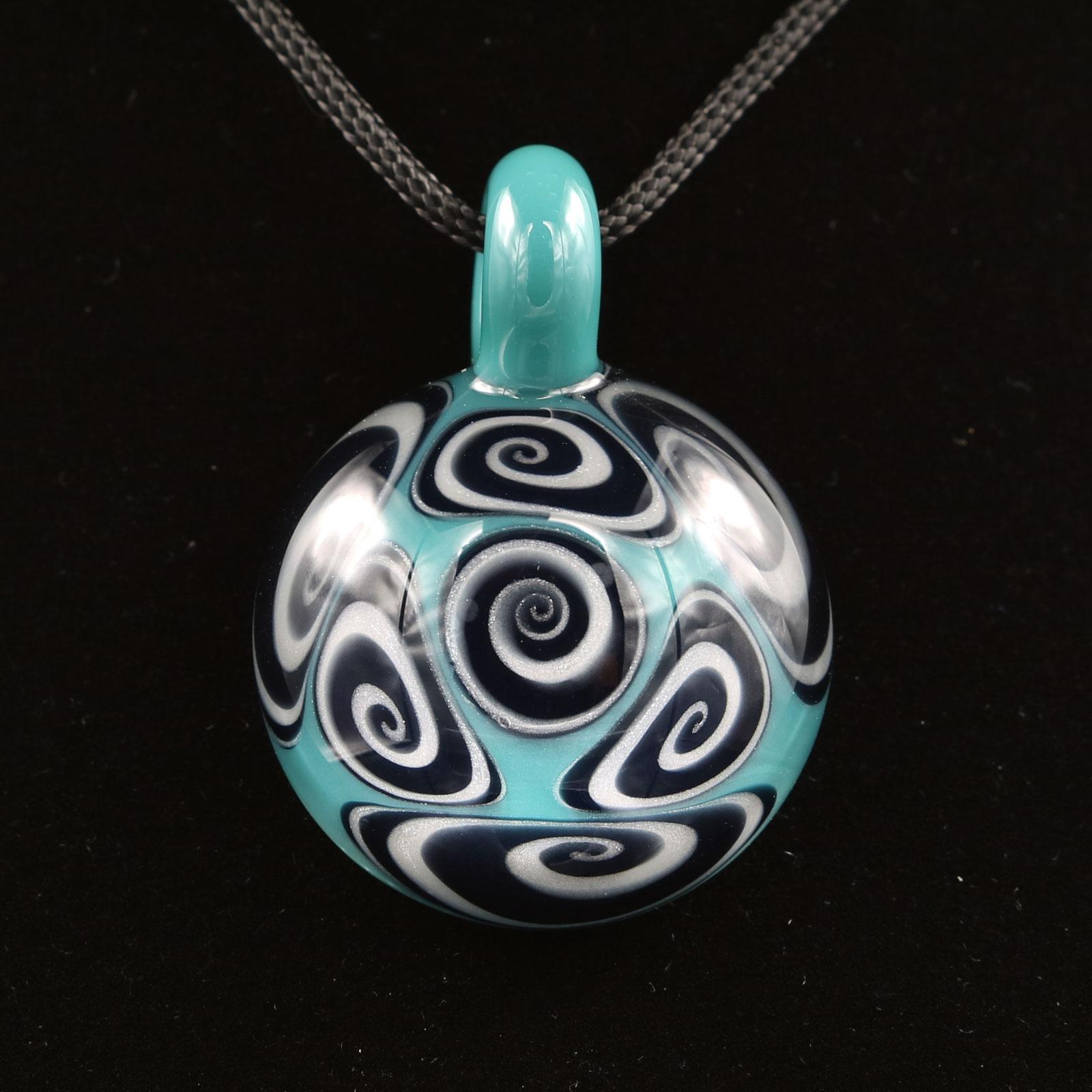 Kaja Glass – 7 Section Opaque Aqua Microspiral Glass Pendant