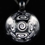 Kaja Glass 13 Section Black and White Microspiral Glass Pendant