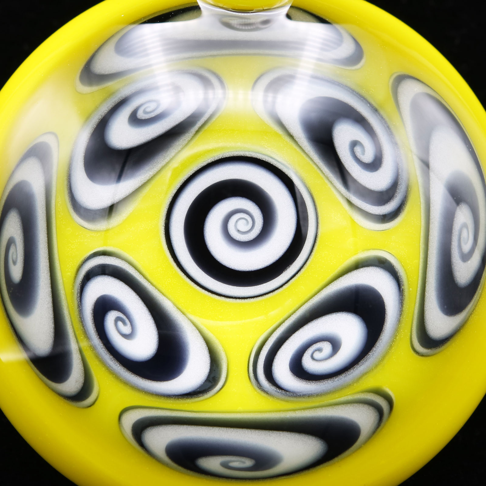 Kaja Glass – 9 Section Yellow Canary Microspiral Pendant